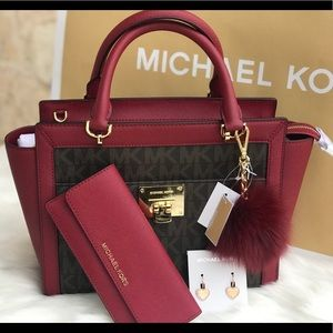 🌷MICHAEL KORS Brown Cherry Medium Satchel Set